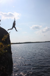 Cliff jumping in the BWCA